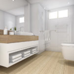 3d rendering white wood design bathroom and toilet